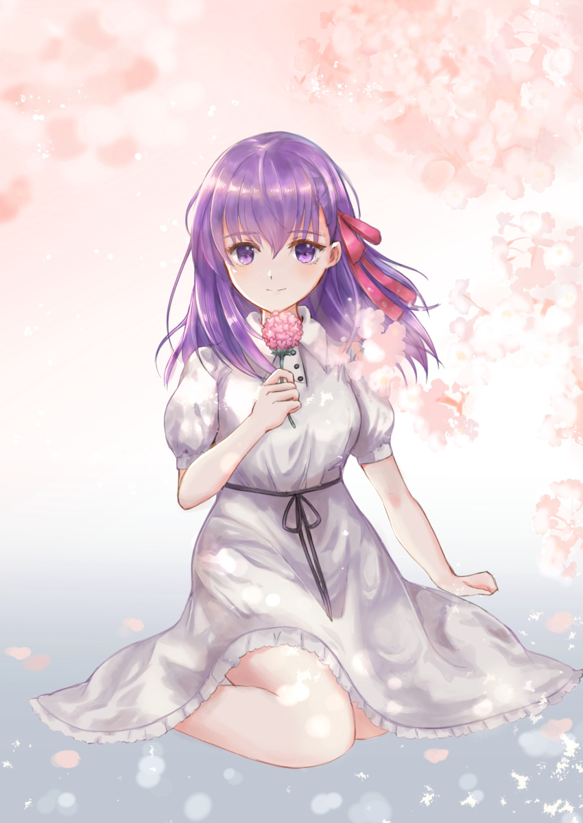 1girl absurdres breasts closed_mouth dress facing_viewer fate/stay_night fate_(series) flower hair_ribbon hand_up highres holding holding_flower looking_at_viewer matou_sakura medium_breasts medium_hair official_alternate_costume puffy_short_sleeves puffy_sleeves red_ribbon ribbon shigure.k short_sleeves sitting smile solo wariza white_dress