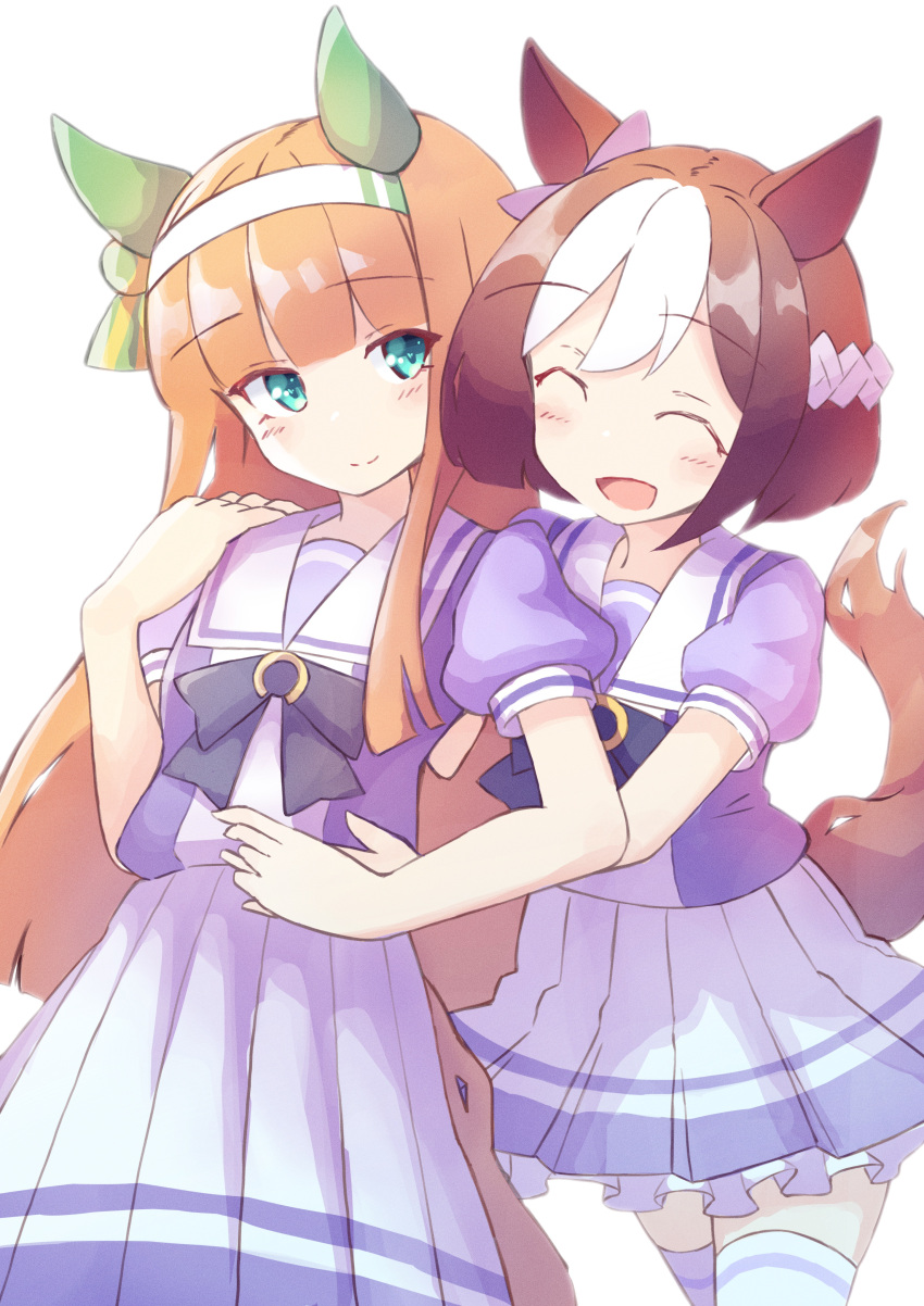 2girls :d ^_^ absurdres animal_ears black_bow blue_eyes blush bow braid brown_hair closed_eyes closed_mouth commentary_request ear_ribbon hairband highres horse_ears horse_girl horse_tail ichi long_hair multicolored_hair multiple_girls open_mouth pink_ribbon pleated_skirt puffy_short_sleeves puffy_sleeves purple_shirt ribbon school_uniform shirt short_sleeves silence_suzuka_(umamusume) simple_background skirt smile special_week_(umamusume) standing tail thigh-highs tracen_school_uniform two-tone_hair umamusume very_long_hair white_background white_hair white_hairband white_legwear white_skirt