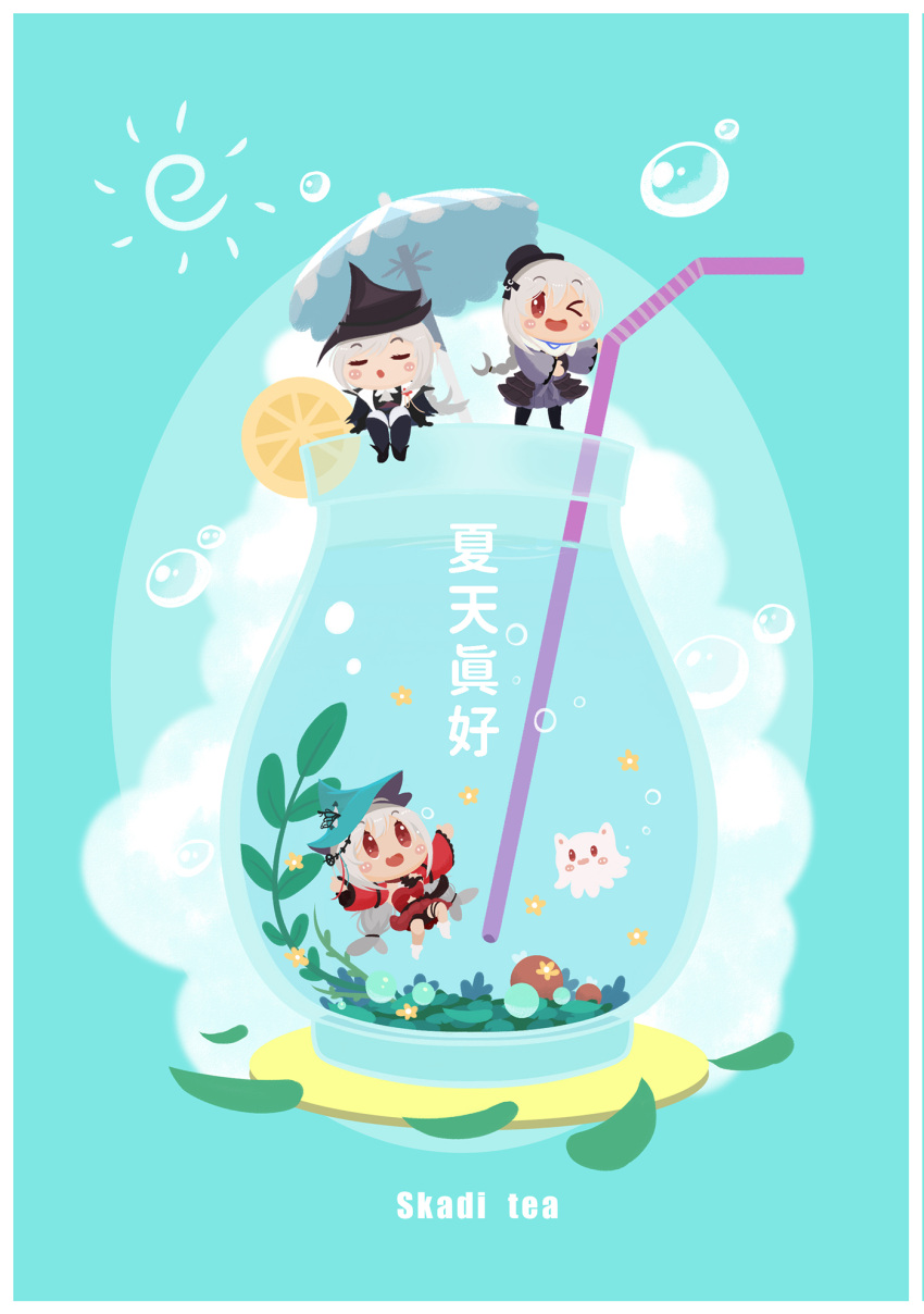 >_< 3girls :o aqua_background aqua_headwear arknights bangs bare_shoulders black_dress black_footwear black_gloves black_headwear blush blush_stickers boots border braid chibi chinese_commentary chinese_text commentary_request cup dress drinking_glass drinking_straw food fruit gladiia_(arknights) gloves grey_dress highres lemon lemon_slice lieyan_huangzi long_hair long_sleeves multiple_girls off-shoulder_dress off_shoulder one_eye_closed open_clothes open_mouth pointy_ears red_dress red_eyes scarf silver_hair single_braid sitting skadi_(arknights) smile specter_(arknights) specter_(undercurrent)_(arknights) submerged thigh-highs thigh_boots thighs translation_request umbrella very_long_hair water white_border white_footwear white_scarf
