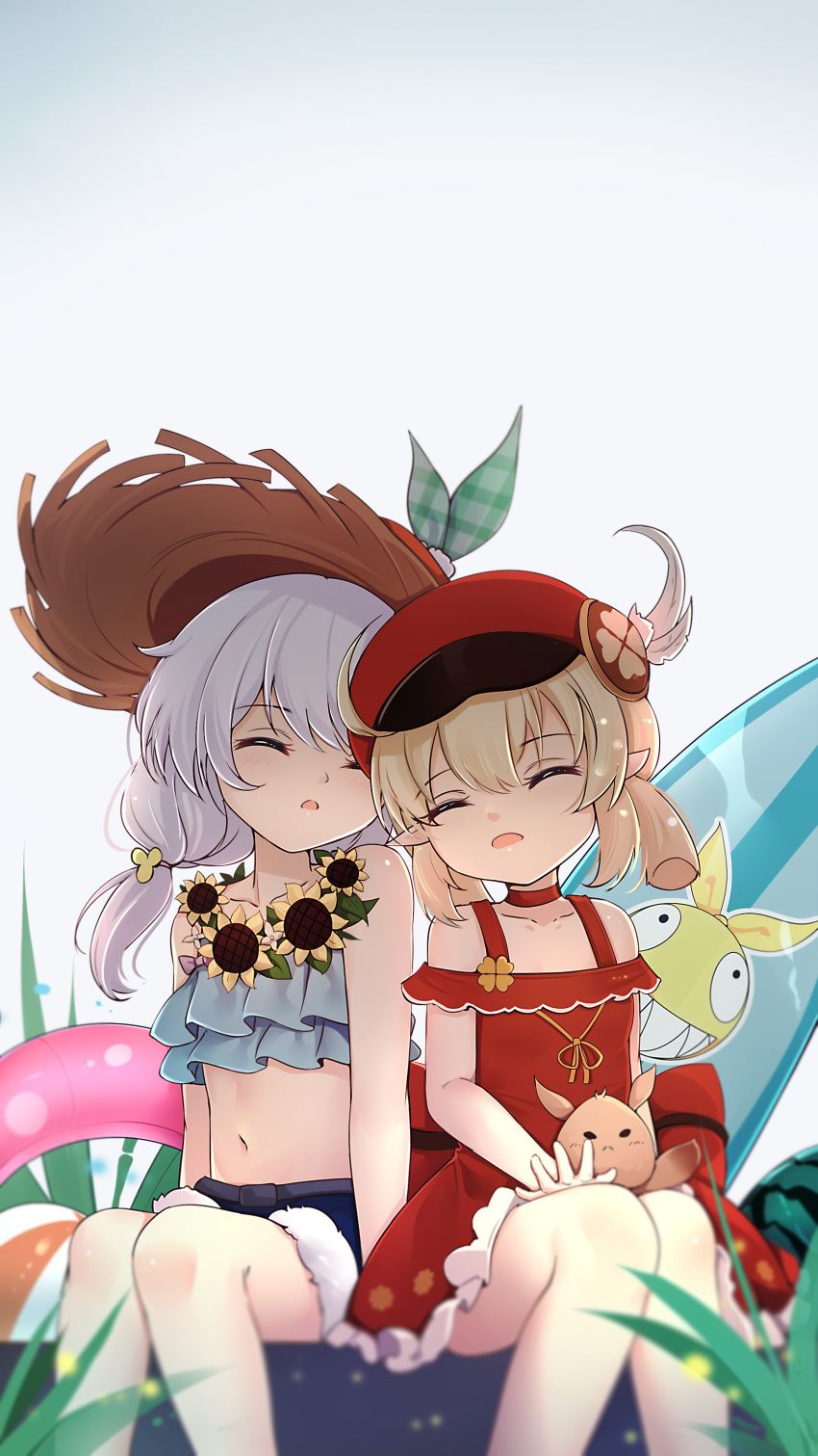 2girls absurdres ahoge ai-chan_(honkai_impact) alternate_costume bangs blurry cabbie_hat casual choker closed_eyes clover_print collarbone commentary_request company_connection contemporary crossover depth_of_field dodoco_(genshin_impact) dress eyebrows_visible_through_hair flower flower_necklace food fruit genshin_impact hair_between_eyes hat head_rest head_tilt highres honkai_(series) honkai_impact_3rd innertube jewelry klee_(genshin_impact) light_brown_hair long_hair low_twintails midriff mihoyo_technology_(shanghai)_co._ltd. multiple_girls navel necklace parted_lips pointy_ears qingye_ling red_dress seiyuu_connection sidelocks silver_hair sitting sleeping sleeping_on_person straw_hat sunflower surfboard theresa_apocalypse twintails watermelon