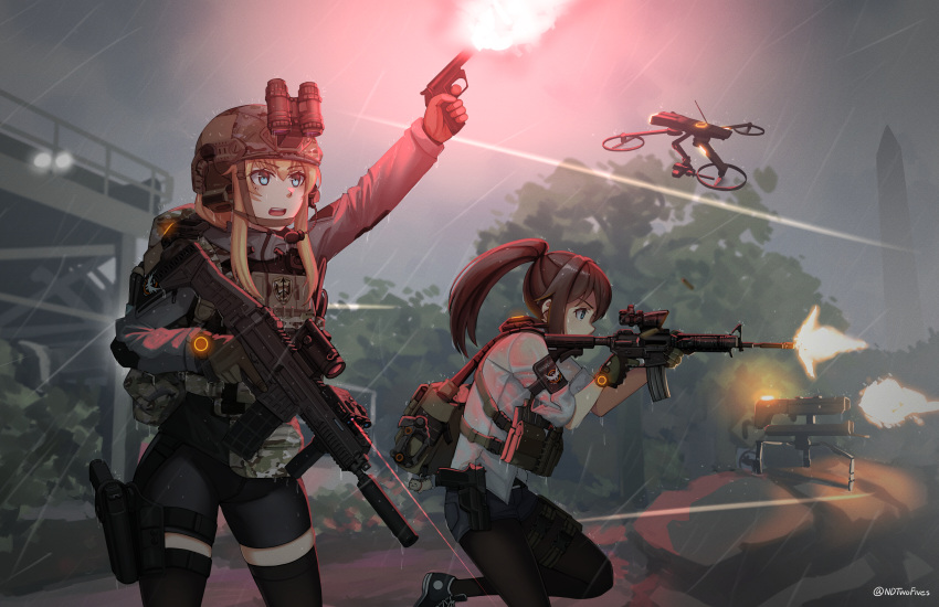 2girls arm_up bangs binoculars black_footwear black_gloves black_legwear black_shorts blonde_hair blue_eyes brown_hair commentary commission drone ear_protection english_commentary eyebrows_visible_through_hair finger_on_trigger firing gloves grey_jacket gun hair_between_eyes handgun headset helmet high_ponytail highres holding holding_gun holding_weapon jacket legwear_under_shorts long_hair looking_away multiple_girls ndtwofives open_mouth original pantyhose pistol ponytail profile railing rain shirt shoes short_shorts short_sleeves shorts standing standing_on_one_leg thigh-highs tom_clancy's_the_division trigger_discipline twitter_username upper_teeth vivian_zhao weapon weapon_request wet wet_clothes wet_shirt white_shirt