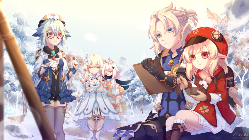 1boy 4girls albedo_(genshin_impact) alternate_hair_color animal_ears arm_guards azuyuki backpack bag belt black_gloves black_legwear blonde_hair bloomers blue_eyes boots bottle brown_footwear brown_gloves cabbie_hat capelet clover_print coat commentary dodoco_(genshin_impact) dog_ears dress eating elbow_gloves english_commentary floating genshin_impact gloves green_hair hat hat_feather hat_ornament highres holding holding_bottle klee_(genshin_impact) light_brown_hair long_sleeves looking_at_another looking_away low_ponytail low_twintails lumine_(genshin_impact) mechanical_halo multiple_girls orange_eyes paimon_(genshin_impact) pocket pointy_ears randoseru red_coat silver_hair sitting size_difference sketching sketchpad snow sucrose_(genshin_impact) thigh-highs thigh_boots twintails underwear vision_(genshin_impact) white_dress white_hair white_legwear wooden_bowl wooden_spoon yellow_eyes zettai_ryouiki