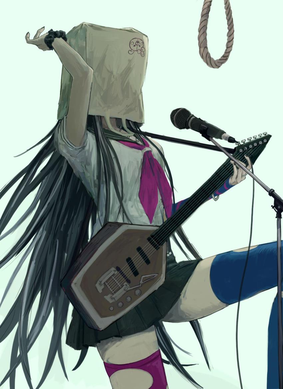 1girl arm_up bag_over_head bangs black_hair black_nails black_skirt blue_legwear character_print commentary_request danganronpa_(series) danganronpa_2:_goodbye_despair electric_guitar guitar highres holding instrument iumi_urura knee_up long_hair microphone mioda_ibuki monomi_(danganronpa) multicolored_hair neckerchief noose piercing pink_hair pleated_skirt rope sailor_collar school_uniform scrunchie serafuku shirt short_sleeves skirt solo spoilers thigh-highs torn_clothes torn_legwear very_long_hair white_hair wrist_scrunchie zettai_ryouiki