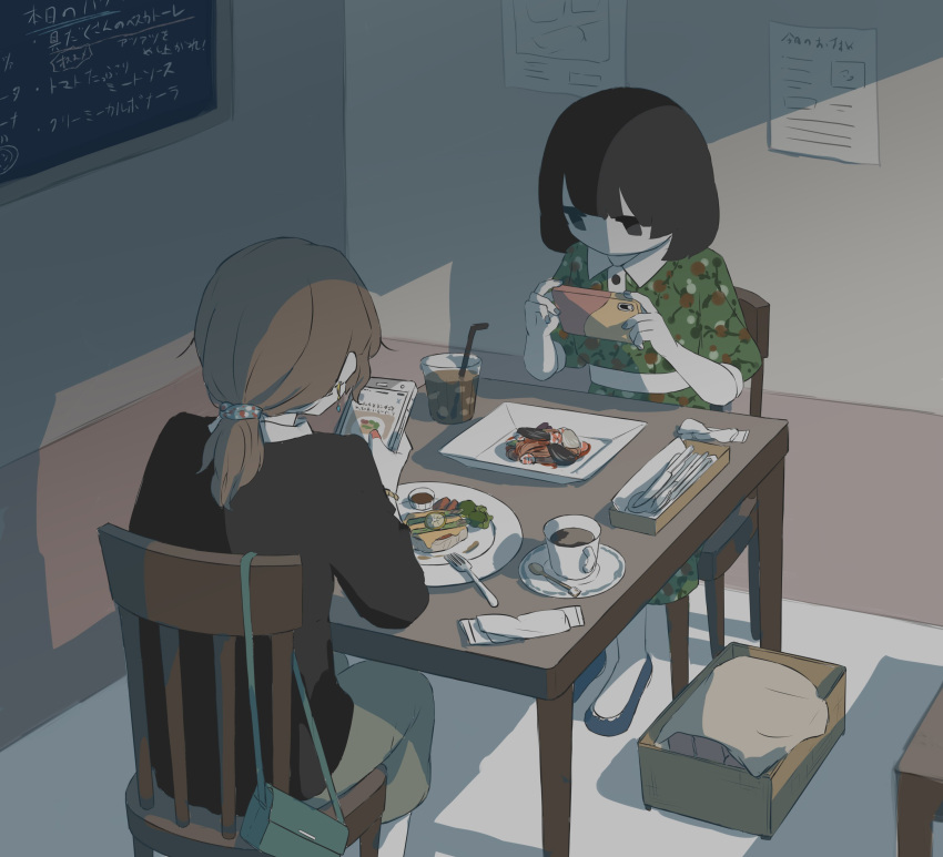 2girls absurdres avogado6 black_eyes brown_hair chair chalkboard cup desk dress drinking_straw earrings food_request fork green_dress highres holding holding_phone jewelry jitome multiple_girls original phone plate ponytail puffy_short_sleeves puffy_sleeves sash short_sleeves sitting spoon symbolism taking_picture