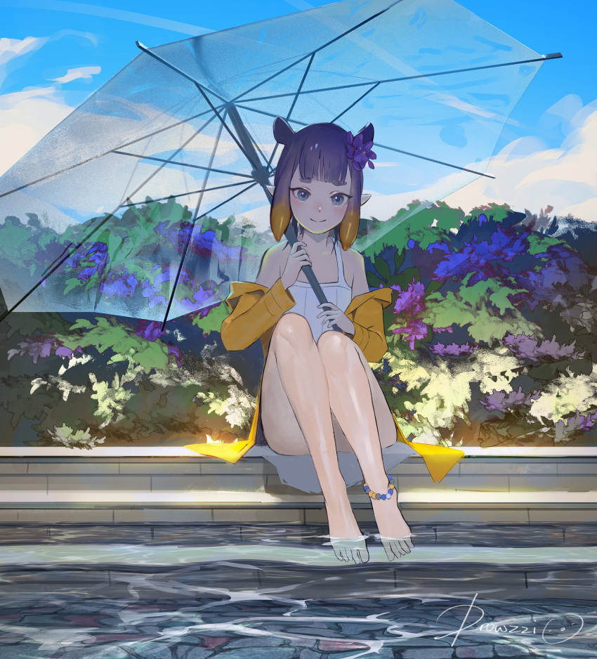 1girl absurdres alternate_costume anklet blue_sky day drowzzi english_commentary flower full_body hair_flower hair_ornament highres hololive hololive_english jacket jewelry long_hair looking_at_viewer ninomae_ina'nis off_shoulder one-piece_swimsuit outdoors plant pointy_ears pool purple_hair signature sitting sky smile soaking_feet solo swimsuit tentacle_hair umbrella violet_eyes virtual_youtuber white_swimsuit yellow_jacket