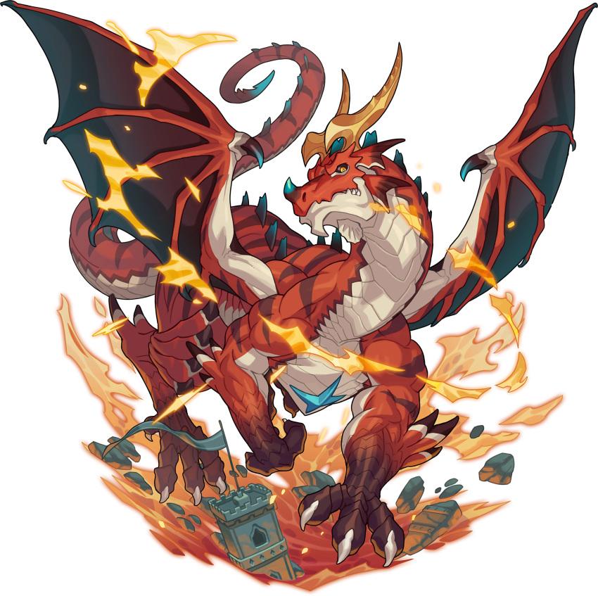 all_fours animal_focus artist_request black_sclera castle claws closed_mouth colored_sclera dragon fire full_body highres horns looking_at_viewer molten_rock muscular no_humans non-web_source official_art orange_eyes outdoors red_theme rubble sharp_teeth solo spiked_tail tail teeth transparent_background wagner_(world_flipper) wings world_flipper
