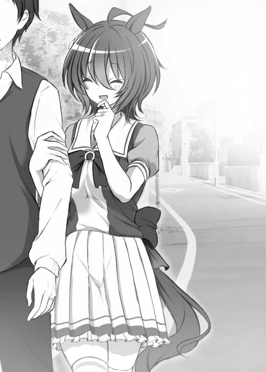:d absurdres agnes_tachyon_(umamusume) ahoge animal_ears arm_grab blush closed_mouth commentary_request couple greyscale hetero highres horse_ears horse_girl horse_tail husband_and_wife jewelry monochrome open_mouth pleated_skirt ring road ryochapu school_uniform short_hair skirt smile solo_focus street tail thigh-highs tracen_school_uniform umamusume vest wedding_band zettai_ryouiki
