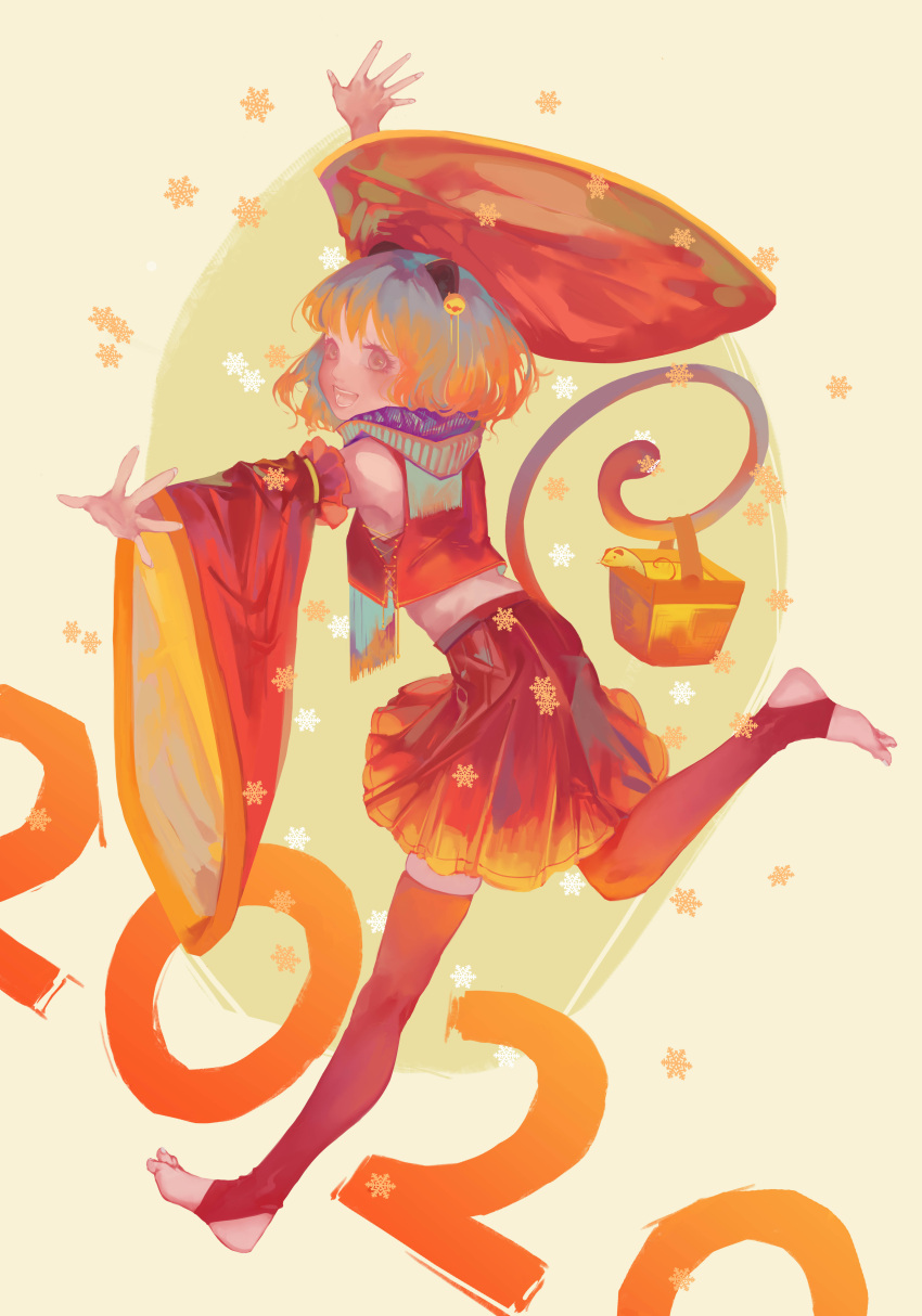 1girl 2020 absurdres animal_ears bangs barefoot basket bell breasts brown_eyes chinese_zodiac detached_sleeves eyelashes from_behind gradient_hair hair_bell hair_ornament happy_new_year highres long_sleeves looking_at_viewer midriff mouse mouse_ears mouse_tail multicolored_hair nazrin new_year open_mouth outstretched_arms over_shoulder red_shirt red_skirt running scarf shirt short_hair skindentation skirt skirt_set sleeveless sleeveless_shirt small_breasts snowflakes solo tail tail_hold touhou wide_sleeves worini year_of_the_rat