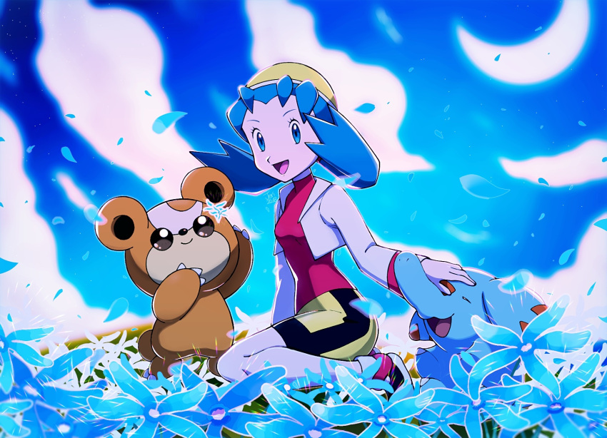 1girl :d bangs bike_shorts blue_eyes blue_flower blue_hair breasts commentary_request crescent_moon cropped_jacket eyelashes flower gen_2_pokemon highres jacket jeri20 kris_(pokemon) long_hair long_sleeves moon open_mouth outdoors petals phanpy pokemon pokemon_(creature) pokemon_(game) pokemon_gsc purple_shirt shirt shoes sky smile teddiursa tongue twintails white_jacket yellow_headwear