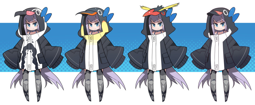 1girl absurdres animal_hood arms_at_sides bikini bird_hood blue_background blue_bikini blue_bow blue_eyes bow closed_mouth collarbone commentary_request disconnected_mouth eyebrows_visible_through_hair fate/grand_order fate_(series) grey_legwear halftone halftone_background highres hood hood_up jacket kometsubu light_purple_hair long_hair long_sleeves looking_at_viewer meltryllis_(fate) meltryllis_(swimsuit_lancer)_(fate) original oversized_clothes penguin_hood recurring_image sleeves_past_fingers sleeves_past_wrists smile standing swimsuit thigh-highs tsurime variations very_long_hair white_background wide_sleeves