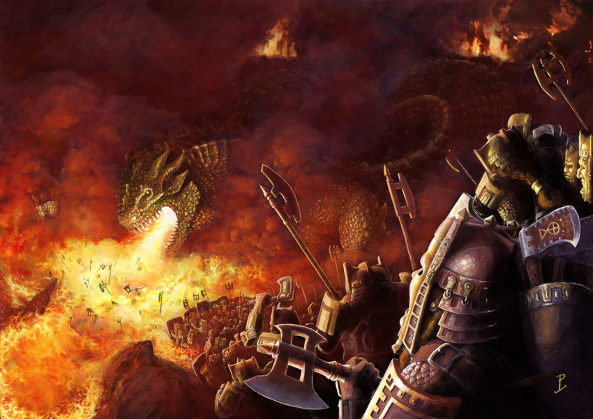 6+boys armor army axe breathing_fire commentary dwarf english_commentary fire full_armor giant giant_monster glaurung helmet highres holding holding_axe holding_shield legendarium lynton_levengood multiple_boys people quiver red_theme shield signature the_silmarillion