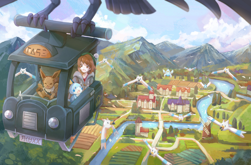 1girl absurdres bird bridge brown_eyes brown_hair building cable_knit cardigan clouds collared_dress commentary_request corviknight day eevee field flying gen_1_pokemon gen_3_pokemon gen_8_pokemon gloria_(pokemon) green_headwear grey_cardigan hat highres hooded_cardigan huge_filesize mountainous_horizon open_mouth outdoors pokemon pokemon_(game) pokemon_swsh pugo river seatbelt short_hair sky smile sobble starter_pokemon tam_o'_shanter taxi tree water windmill wingull