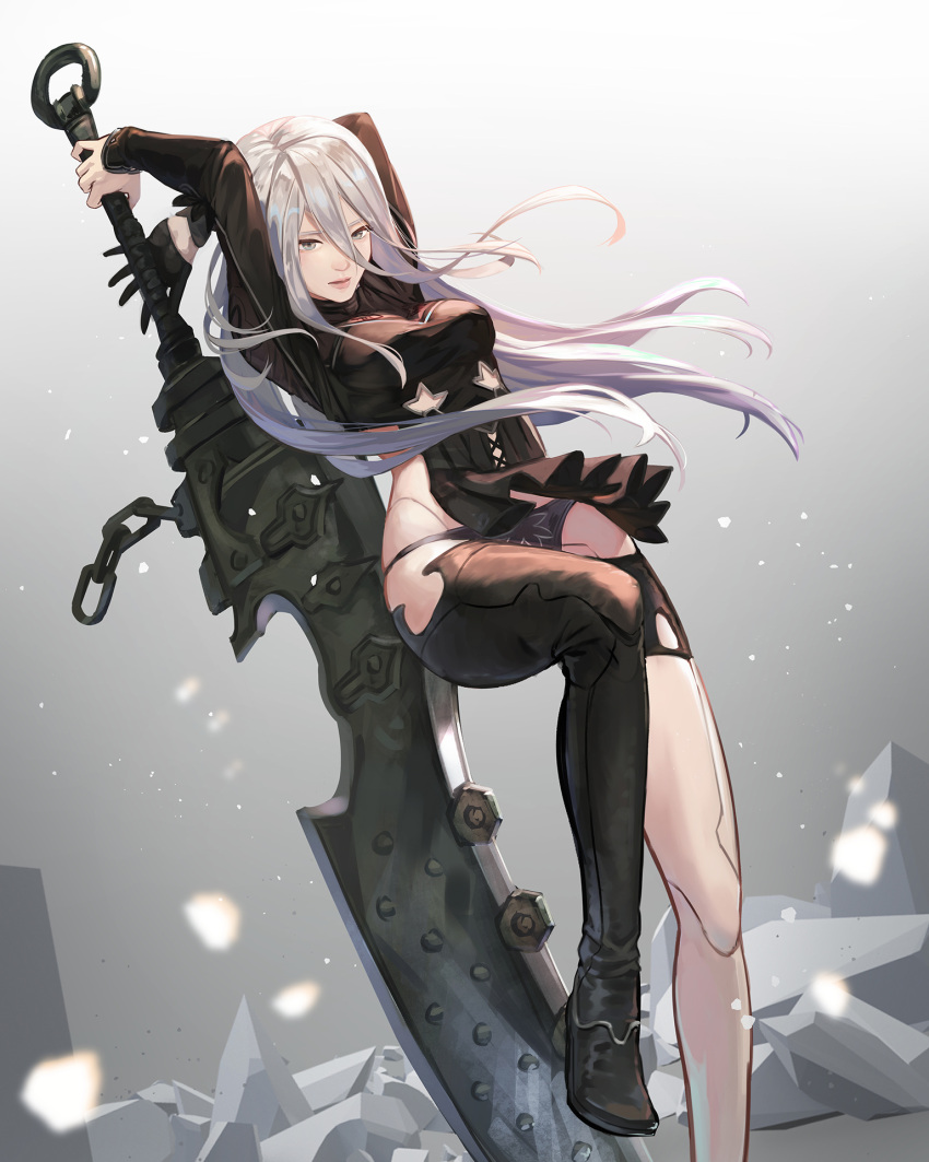 1girl alternate_costume android arms_behind_head asymmetrical_gloves asymmetrical_legwear bangs black_dress black_footwear black_gloves black_panties breasts chain dress gloves grey_eyes hair_between_eyes highres hip_vent holding holding_sword holding_weapon huge_weapon jason_kong joints long_hair nier_(series) nier_automata nier_reincarnation official_alternate_costume panties robot_joints solo sword type-3_blade underwear weapon white_hair yorha_type_a_no._2 zweihander
