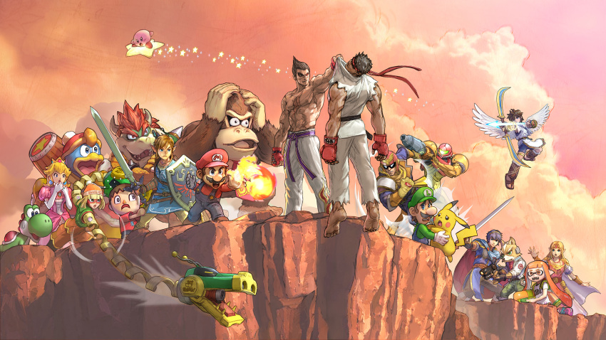 5girls 6+boys aiming angel angry animal_crossing animal_ears arm_cannon arm_up armor arms_(game) arrow_(projectile) artist_request backpack bag bangs barefoot beanie behind_another belt big_nose bike_shorts black_belt black_eyes black_gloves black_hair black_legwear blonde_hair blue_cape blue_eyes blue_fur blue_hair blue_jacket blue_pants blunt_bangs blush_stickers body_fur bow_(weapon) bowser bracelet breastplate breasts brooch brown_footwear brown_fur brown_hair brown_pants cape captain_falcon circlet clenched_hands clenched_teeth cliff closed_mouth clothes_writing clouds coat collar_grab collarbone commentary_request constricted_pupils cross-laced_footwear crossed_arms crossover crown domino_mask donkey_kong donkey_kong_(series) dougi dress earrings elbow_gloves english_commentary everyone f-zero facial_hair fangs feathered_wings feet fingerless_gloves fire fire_emblem fireball flame_print flat_chest flying flying_sweatdrops fox_boy fox_ears fox_mccloud fox_tail from_behind full_body fur-trimmed_coat fur_trim furry gen_1_pokemon gloves glowing gold gradient_hair green_eyes green_headwear green_pants green_shirt green_vest grin gun hair_intakes hairband hammer hand_to_own_mouth hand_up handgun hands_on_own_head hands_together hands_up hat headgear helmet heterochromia highres holding holding_bow_(weapon) holding_gun holding_hammer holding_shield holding_sword holding_weapon horns hug huge_weapon ink_tank_(splatoon) inkling inkling_(language) jacket jewelry karate_gi kid_icarus king_dedede kirby kirby_(series) laurel_crown leggings legs_apart link long_hair long_sleeves looking_at_another luigi mario mario_(series) marth_(fire_emblem) mask master_sword metroid min_min_(arms) mishima_kazuya mixed-language_commentary multicolored_hair multiple_boys multiple_girls muscular muscular_male mustache necklace necktie nervous nipples official_art open_clothes open_jacket open_mouth orange_eyes orange_hair orange_headwear orange_shirt orange_shorts outdoors outstretched_arm 