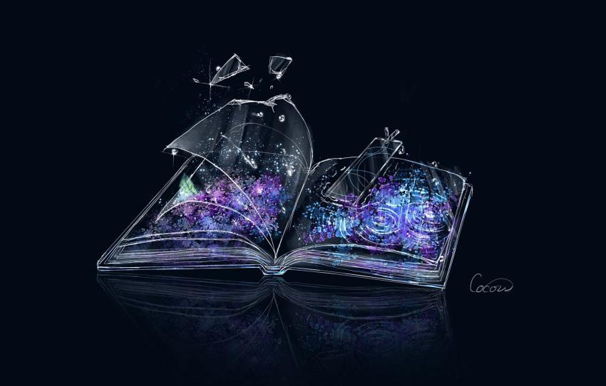 book bookmark broken_glass cocon_(cocon_q) dark_background glass highres no_humans open_book original petals reflection signature transparent water_drop