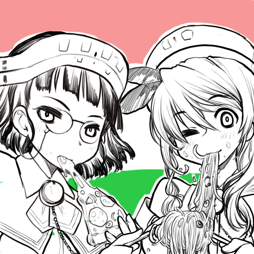 2girls bangs blunt_bangs blush eating eyebrows_visible_through_hair feathers flag flag_background food food_in_mouth food_on_face glasses greyscale hair_between_eyes headdress highres italian_flag kagesaki_yuna kantai_collection littorio_(kancolle) long_hair monochrome multiple_girls noodles one_eye_closed pasta pince-nez roma_(kancolle) short_hair simple_background sketch