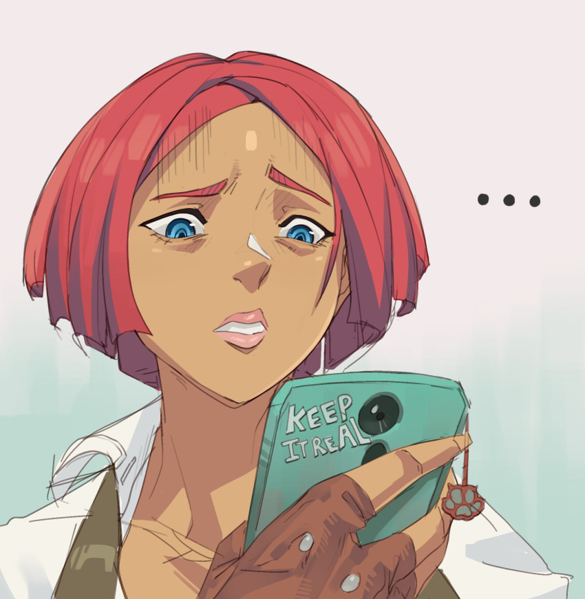 ... 1girl blue_eyes cellphone commentary dark_skin disappointed draz fingerless_gloves giovanna_(guilty_gear) gloves grey_background guilty_gear guilty_gear_strive highres lips parted_lips phone raised_eyebrow redhead short_hair simple_background smartphone solo