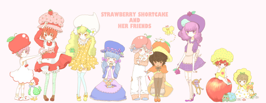 6+girls :d absurdres animal animal_on_lap apple apple_dumplin'_(sbsc) apple_hair_ornament apricot_(sbsc) apron baby bird black_hair blonde_hair blue_dress blue_hair blueberry_muffin_(sbsc) bob_cut bonnet bow brown_eyes bug butter_cookie_(sbsc) butterfly cap cape capelet caption cat cherry_cuddler_(sbsc) child copyright_name custard_(sbsc) dark-skinned_female dark_skin dress duck flat_color flower food food-themed_hair_ornament frog fruit hair_bow hair_ornament hat highres holding holding_animal holding_bunny holding_cat hotate1 insect large_hat leggings lemon_meringue_(sbsc) light_brown_hair lolita_fashion long_hair monkey mouse multiple_girls onesie open_mouth orange_blossom_(sbsc) orange_dress overalls oversized_object pastel_colors petite pink_eyes pink_hair platinum_blonde_hair purple_dress purple_hair rabbit raspberry raspberry_torte_(sbsc) red_dress redhead ribbon short_hair short_twintails sitting_on_apple smile strawberry strawberry_shortcake strawberry_shortcake_(copyright) strawberry_shortcake_(sbsc) striped striped_legwear stuffed_animal stuffed_toy teddy_bear toddler turtle twintails vintage_clothes violet_eyes white_background yellow_dress yellow_eyes