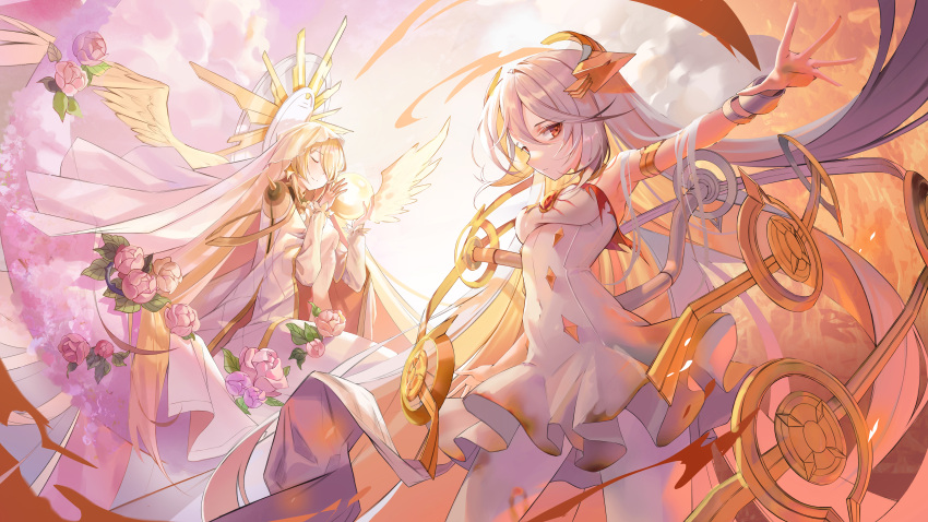 2girls absurdres alchemy_stars armlet armpits backlighting bare_shoulders blonde_hair bracelet breasts burnt_clothes cape closed_eyes closed_mouth clouds commentary_request dress eyebrows_visible_through_hair flower frilled_dress frills gabriel_(alchemy_stars) hands_up harusame_(user_wawj5773) highres holding_orb huge_filesize jewelry korean_commentary leaf long_hair long_sleeves looking_at_viewer medium_breasts multiple_girls orange_eyes outstretched_hand partial_commentary pink_flower pink_rose rose sad smile strapless strapless_dress uriel_(alchemy_stars) veil very_long_hair white_cape white_dress white_hair white_legwear wings