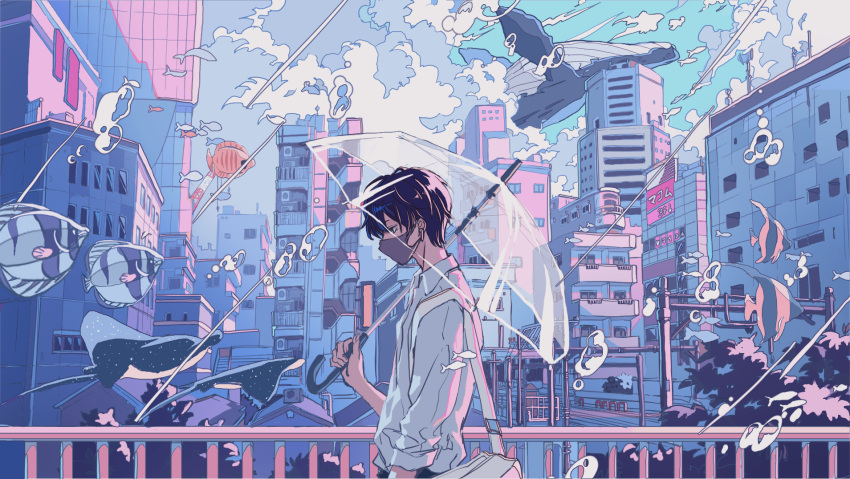 1boy arm_at_side bag bangs blue_eyes bubble building city cityscape closed_mouth clouds cloudy_sky collared_shirt commentary crane_(machine) dark_blue_hair fish floating flying flying_whale hand_up highres holding holding_umbrella ichigoame long_sleeves looking_away looking_down manta_ray mask original outdoors railing rain scenery shirt short_hair shoulder_bag sky solo transparent transparent_umbrella umbrella upper_body whale white_shirt wide_shot wireless_earphones
