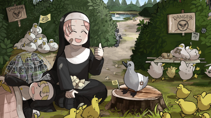 >_< 2girls :d @_@ ^_^ banana_peel bandages bandaid bandaid_on_cheek bird blanket blonde_hair bush carrying catholic chicken closed_eyes commentary cross_scar crying cygnet dirty diva_(hyxpk) drooling duck duckling english_commentary feathers fishing_rod flag food footprints hiding highres jar little_nun_(diva) mini_flag mole_(animal) multiple_girls net nose_bubble nun object_on_head open_mouth outdoors peeking pigeon pond popcorn redhead scar scar_on_chest sign sleeping smile spoon star_(symbol) stretcher swan sweat sweatdrop sweating_profusely thumbs_up tree tree_stump waving_flag worms x younger