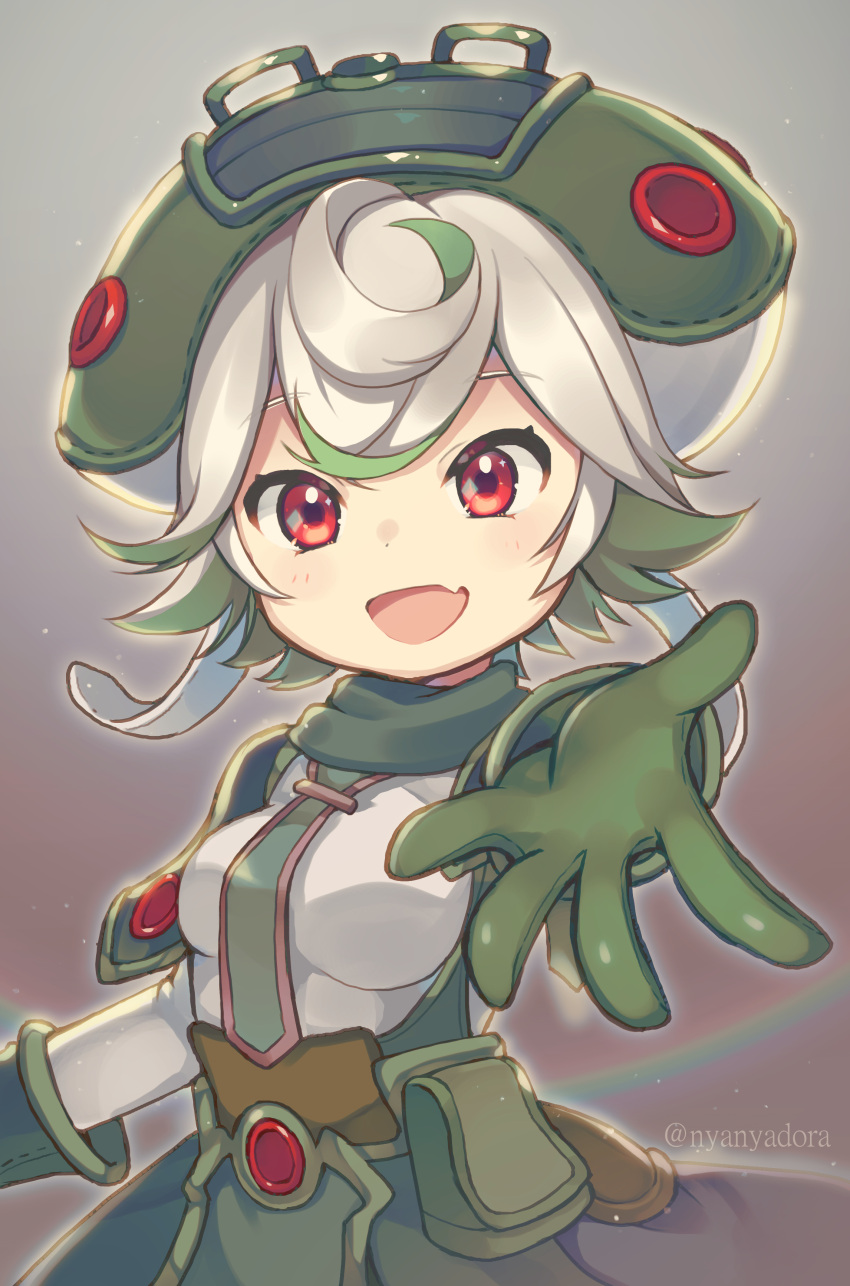 1girl absurdres breasts child fang gloves green_gloves green_hair green_headwear hat highres looking_at_viewer made_in_abyss medium_breasts multicolored_hair nyasunyadoora open_mouth prushka rainbow red_eyes short_hair skin_fang smile solo two-tone_hair white_hair