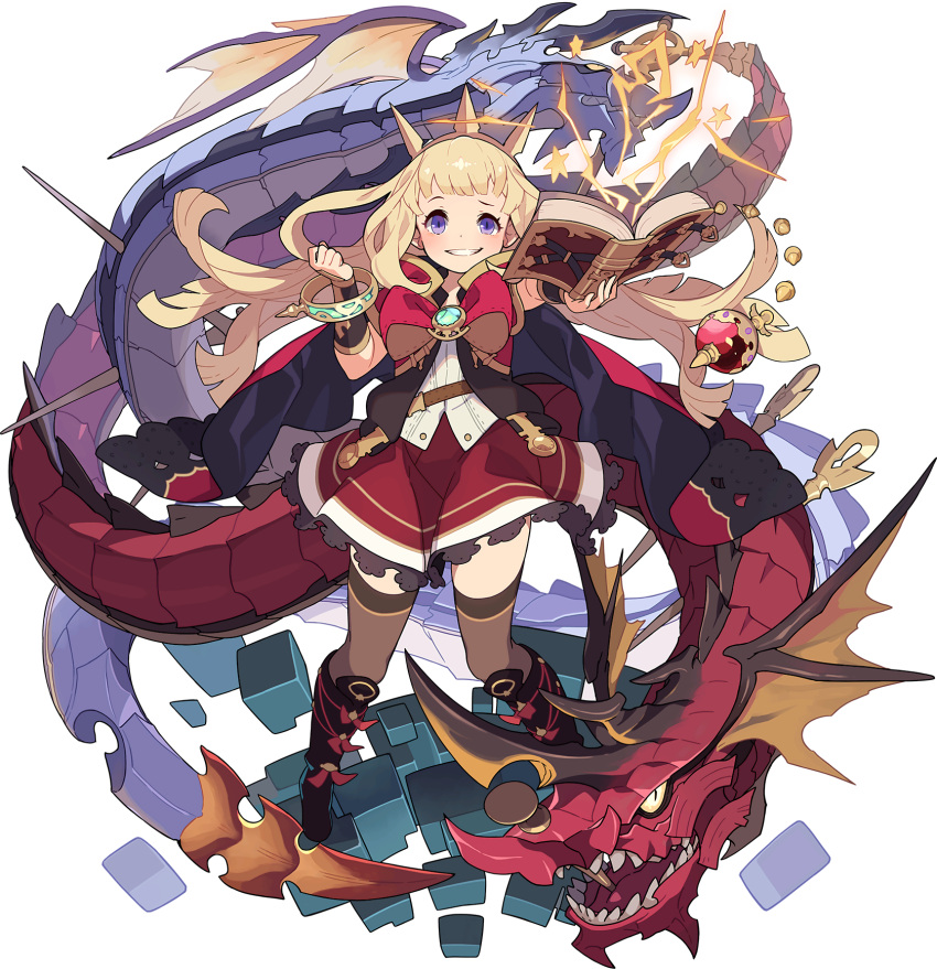 1girl arm_up artist_request bangle bangs belt black_eyes black_footwear blonde_hair blunt_bangs blush book boots bow bowtie bracelet brooch brown_legwear brown_vest cagliostro_(granblue_fantasy) cape clenched_hand colored_sclera cube dragon electricity flat_chest frilled_skirt frills full_body gem granblue_fantasy grin hand_up happy highres holding holding_book impaled jewelry knee_boots long_hair looking_at_viewer miniskirt nail non-web_source official_art open_book open_mouth ouroboros_(granblue_fantasy) outstretched_arm raised_eyebrow red_cape red_neckwear red_skirt sharp_teeth shiny shiny_hair shirt sidelocks skirt sleeveless sleeveless_shirt smile solo_focus standing star_(symbol) straight-on teeth thigh-highs tiara transparent_background two-sided_cape two-sided_fabric vambraces vest violet_eyes white_shirt world_flipper yellow_headwear yellow_sclera zettai_ryouiki