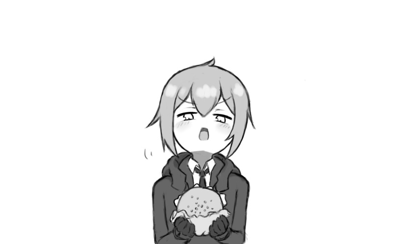 1girl antenna_hair bangs blush burger closed_mouth food funpey girls'_frontline gloves gloves_removed grey_hair half-closed_eyes highres holding holding_food jacket long_sleeves looking_at_food m200_(girls'_frontline) monochrome necktie open_mouth simple_background solo v-shaped_eyebrows white_background white_eyes