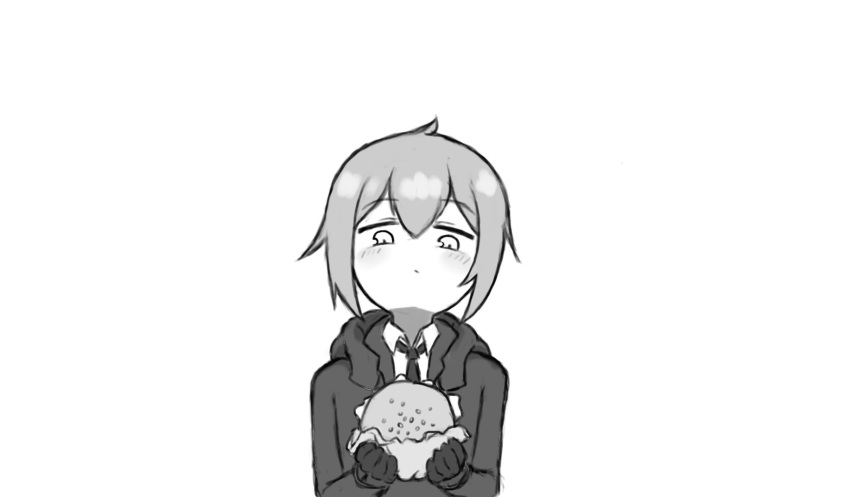 1girl antenna_hair bangs blush burger closed_mouth food funpey girls'_frontline gloves gloves_removed grey_hair highres holding holding_food jacket long_sleeves looking_at_food m200_(girls'_frontline) monochrome necktie simple_background solo white_background white_eyes