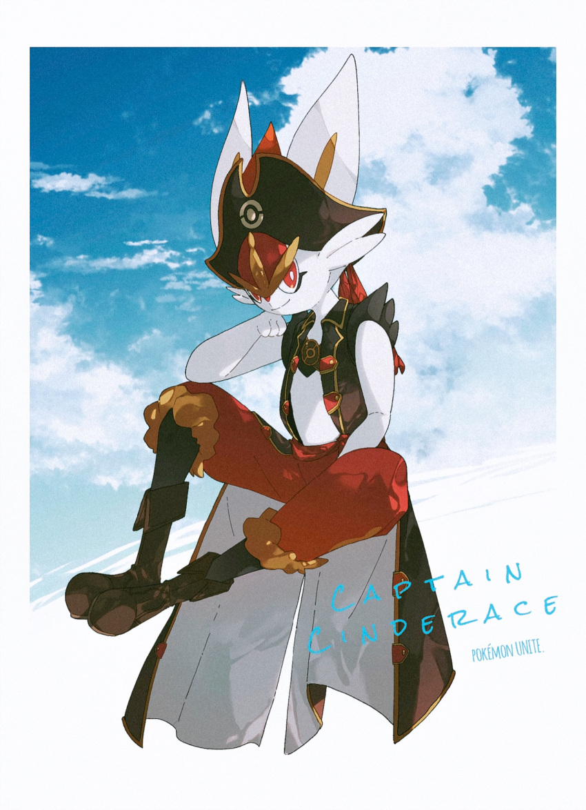 aya_(ayamenora) boots border bright_pupils brown_footwear character_name cinderace closed_mouth clothed_pokemon clouds commentary_request copyright_name gen_8_pokemon hand_up hat hatted_pokemon highres looking_at_viewer pirate_hat pokemon pokemon_(creature) red_eyes sky smile solo spread_legs vest white_border white_pupils