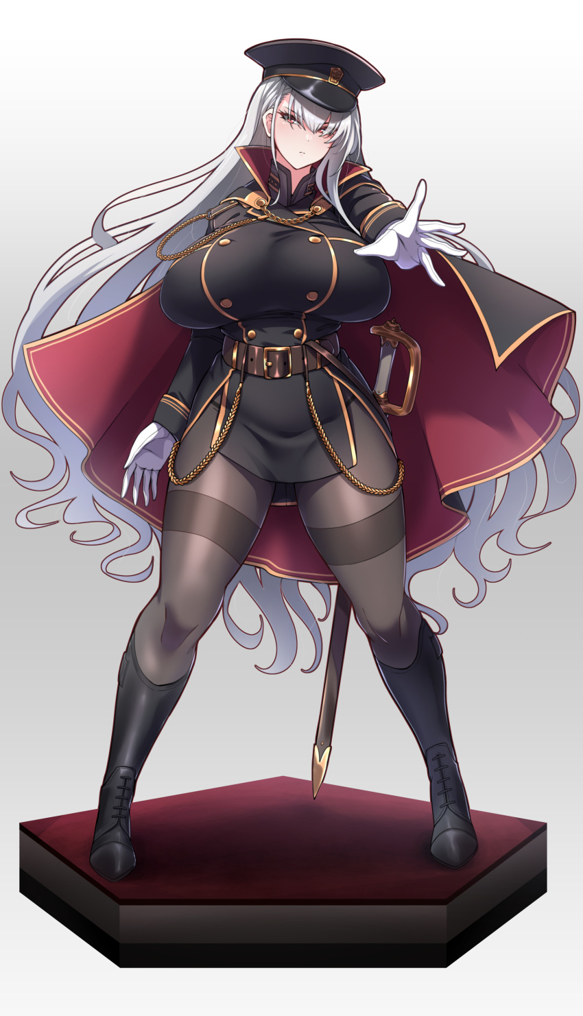 1girl absurdres belt black_clothes black_legwear boots breasts cape gloves hat highres huge_breasts knee_boots konoshige_(ryuun) long_hair looking_at_viewer military military_hat military_jacket military_uniform original pantyhose red_eyes riding_boots sheath silver_hair simple_background slender_waist solo sword thick_thighs thighband_pantyhose thighs uniform very_long_hair weapon white_background wide_hips