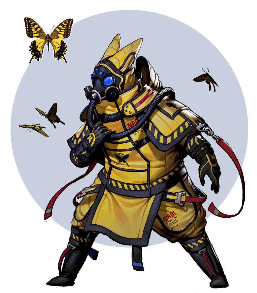 absurdres ambiguous_gender black_footwear black_gloves bodysuit boots bug butterfly circle full_body gas_mask gloves hand_up highres insect original rinotuna solo standing yellow_bodysuit