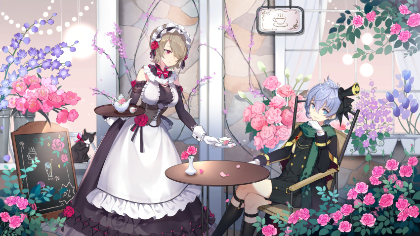 2girls apron benghuai_xueyuan black_headwear blue_eyes blue_hair brown_hair cafe chair character_request closed_mouth crossed_legs cup door flower hair_between_eyes hair_flower hair_ornament hair_over_one_eye hand_on_own_chin hat highres honkai_(series) honkai_impact_3rd looking_at_another looking_at_viewer maid maid_apron maid_cafe maid_headdress menu_board multiple_girls official_art petals pink_flower purple_flower rita_rossweisse short_hair sign sitting smile table teacup teapot tray vase violet_eyes