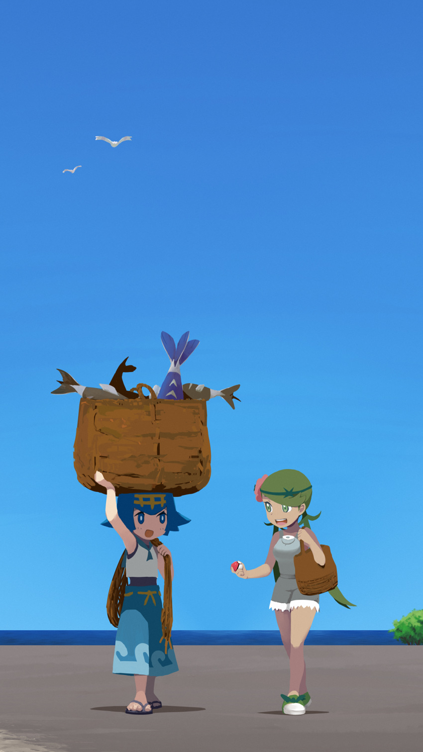 2girls :d arm_up bare_arms basket bird blue_eyes blue_hair blue_pants blue_sailor_collar bright_pupils brown_bag commentary day fish flower green_eyes green_footwear green_hair grey_overalls hair_flower hair_ornament hairband highres holding holding_poke_ball lana_(pokemon) long_hair mallow_(pokemon) multiple_girls no_sclera open_mouth outdoors overalls pants pink_flower poke_ball poke_ball_(basic) pokemon pokemon_(game) pokemon_sm rope sailor_collar sandals shirt shoes short_hair sky sleeveless sleeveless_shirt smile squid_neetommy standing toes twintails white_pupils white_shirt yellow_hairband