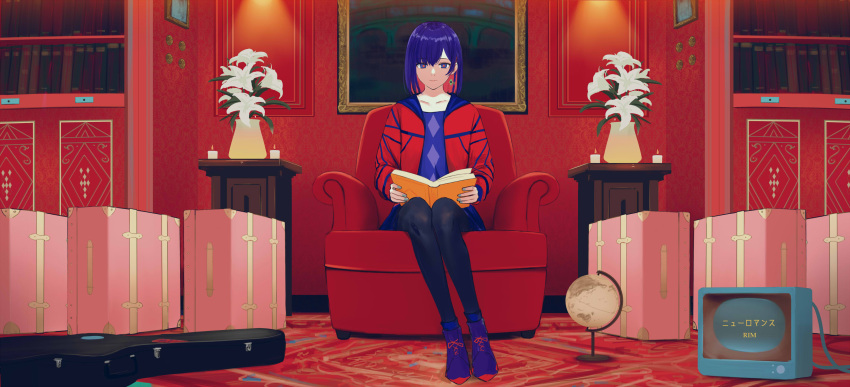 1girl absurdres armchair blue_hair book bookshelf boots candle chair collarbone colored_inner_hair earrings eyebrows_visible_through_hair flower full_body globe guitar_case highres holding holding_book indoors instrument_case isshiki_(ffmania7) jacket jewelry kamitsubaki_studio lily_(flower) multicolored multicolored_eyes multicolored_hair open_clothes open_jacket painting_(object) pantyhose red_jacket redhead rim_(kamitsubaki_studio) short_hair sitting solo suitcase television two-tone_hair vase virtual_youtuber