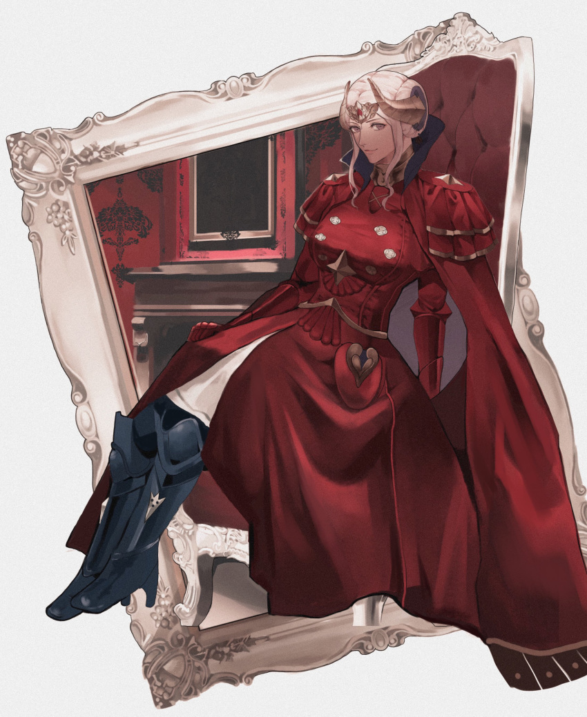 1girl absurdres boots breasts cape closed_mouth edelgard_von_hresvelg fire_emblem fire_emblem:_three_houses full_body gloves hair_ornament highres horns long_hair long_sleeves looking_at_viewer red_cape simple_background smile solo violet_eyes watayumi_leo white_hair