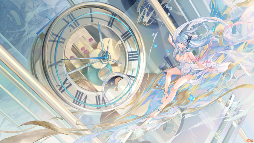 1girl anklet artist_name atdan bangs bare_legs barefoot blue_butterfly blue_eyes blue_hair blue_nails breasts bug butterfly butterfly_hair_ornament cangqiong clock closed_mouth commentary dress english_commentary full_body gears hair_between_eyes hair_ornament highres insect jewelry large_breasts long_hair looking_away midair nail_polish pelvic_curtain roman_numeral sleeveless sleeveless_dress smile solo synthesizer_v very_long_hair white_dress wide_shot wristband
