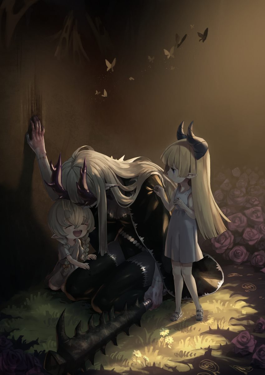 3girls :d absurdres black_cape blonde_hair blue_eyes braid bug butterfly cape child club dress flower grass grey_dress highres holding holding_weapon horns insect kneeling long_hair multiple_girls okame_nin open_mouth original pointy_ears red_flower red_rose rose smile spiked_club spiked_horns stitched_arm twin_braids urushia_(okame_nin) weapon younger