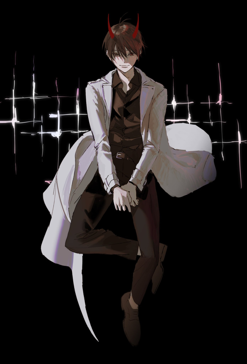 1boy antenna_hair belt black_background closed_mouth coat dok-ja_kim fleurdeseaux hair_between_eyes heterochromia highres horns looking_at_viewer male_focus omniscient_reader's_viewpoint open_clothes open_coat original red_eyes red_horns smile solo sparkle spoilers white_coat yellow_eyes