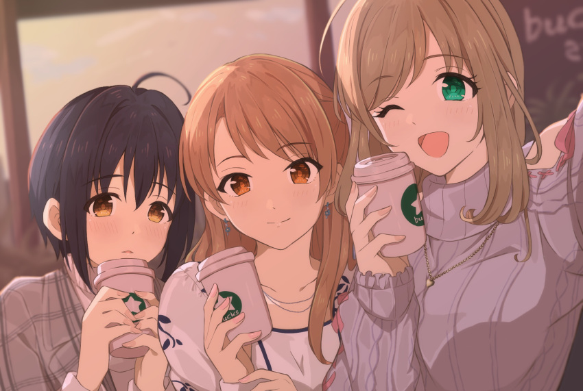 3girls ;d ahoge bangs black_hair blush breasts brown_eyes brown_hair collarbone commentary_request cup disposable_cup duffy earrings eyebrows_visible_through_hair green_eyes hair_intakes highres holding holding_cup houjou_karen idolmaster idolmaster_cinderella_girls jewelry kohinata_miho large_breasts long_hair long_sleeves looking_at_viewer multiple_girls necklace one_eye_closed open_mouth ribbed_sweater satou_shin short_hair smile sweater turtleneck turtleneck_sweater