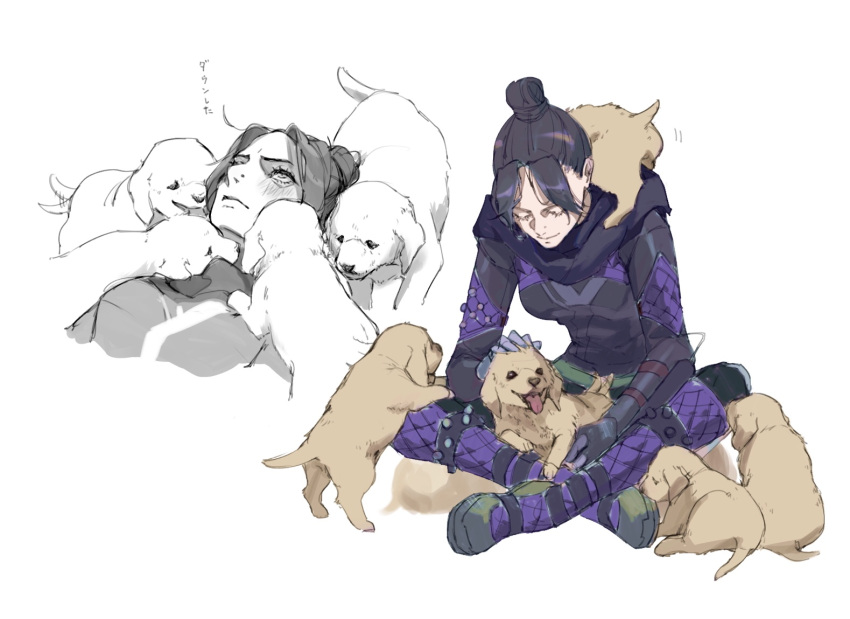 1girl annoyed apex_legends bangs black_bodysuit black_eyes black_hair black_scarf blush bodysuit dog dog_on_lap expressionless hair_bun licking looking_down looking_up parted_bangs petting puppy renee_shika_egakan scarf tongue tongue_out wraith_(apex_legends)