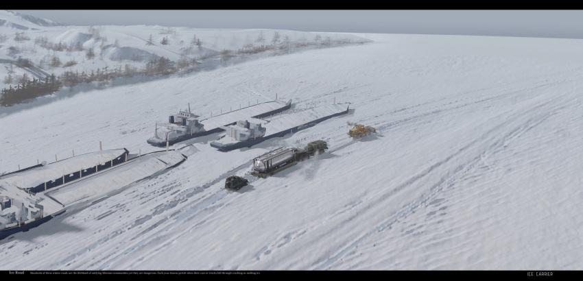 frozen grey_sky ground_vehicle haguruma_c highres motor_vehicle original river ship snow snowplow tank_truck tree truck watercraft
