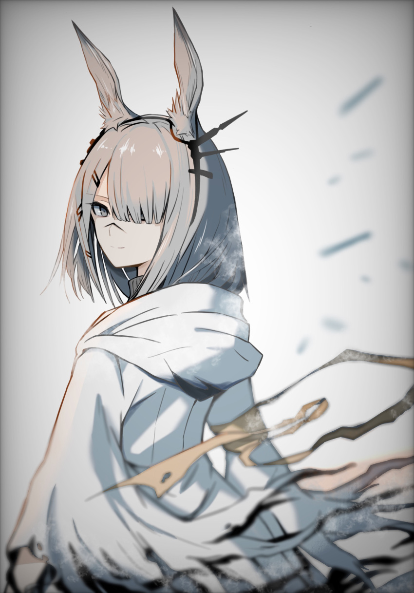 1girl animal_ear_fluff animal_ears arknights armband coat commentary frostnova_(arknights) grey_eyes grey_hair hair_over_one_eye hakoiriniwaka highres hood hood_down long_hair looking_at_viewer looking_back rabbit_ears ribbon scar scar_on_face scar_on_nose smile solo upper_body white_background white_coat yellow_ribbon
