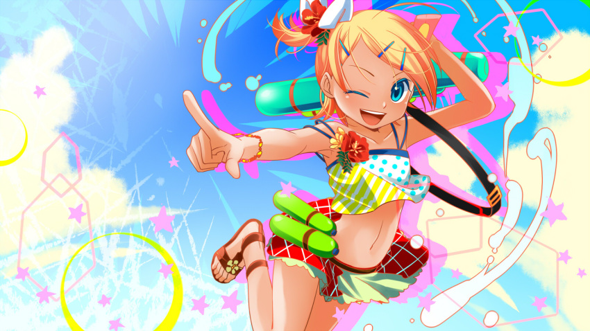 ;d alternate_costume alternate_hairstyle arched_back armpits bikini bikini_skirt blonde_hair blue_eyes blue_sky bottle clouds collarbone flat_chest flower hair_ornament hairclip hibiscus highres index_finger_raised junji kagamine_rin leg_up lens_flare looking_at_viewer midriff multicolored multicolored_clothes multicolored_swimsuit navel one_eye_closed open_mouth over_shoulder pointing pointing_at_viewer pointing_up polka_dot polka_dot_bikini sandals side_ponytail sky smile star_(symbol) striped striped_bikini swimsuit tan tankini vocaloid water_bottle water_gun