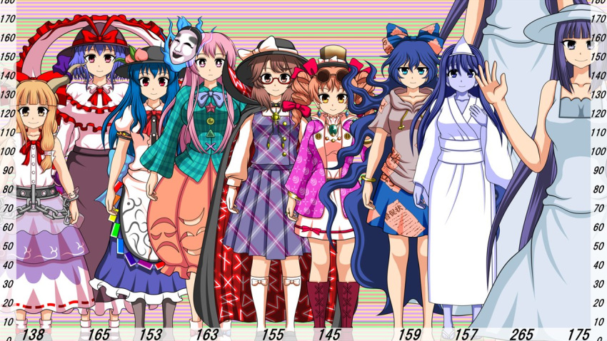 6+girls antinomy_of_common_flowers bangs barefoot black_cape black_eyes black_footwear black_hair black_headwear black_skirt blouse blue_bow blue_eyes blue_hair blue_skirt blunt_bangs boots bow bowtie bracelet breasts bright_pupils brown_eyes brown_footwear brown_hair bubble_skirt buttons cape character_request circle closed_mouth coat cross-laced_footwear cuffs debt drawstring dress drill_hair eyebrows_visible_through_hair eyewear_on_head fedora footwear_bow frilled_shawl frills full_body glasses green_bow green_shirt grey_eyes grey_hoodie hair_bow hat hat_bow hata_no_kokoro height_chart hinanawi_tenshi hood hoodie hopeless_masquerade horn_ornament horn_ribbon horns ibuki_suika immaterial_and_missing_power japanese_clothes jewelry kimono large_breasts long_hair long_skirt long_sleeves low-tied_long_hair mask mask_on_head medium_breasts metal_belt mini_hat mini_top_hat multiple_girls nagae_iku noh_mask orange_eyes orange_hair orange_skirt pendant pink_eyes pink_hair plaid plaid_shirt plaid_skirt plaid_vest pleated_skirt puffy_short_sleeves puffy_sleeves purple_bow purple_coat purple_hair purple_neckwear purple_ribbon purple_skirt purple_vest quimbaya_airplane rainbow_order red_bow red_eyes red_neckwear red_skirt ribbon ribbon-trimmed_skirt ribbon_trim ring round_eyewear runes sandals scarlet_weather_rhapsody semi-rimless_eyewear shackles shawl shirt short_hair short_sleeves skirt smile socks standing star_(symbol) sunglasses sutekase top_hat torn_clothes torn_sleeves touhou touhou_hisoutensoku triangle triangular_headpiece twin_drills under-rim_eyewear urban_legend_in_limbo usami_sumireko very_long_hair vest violet_eyes wavy_hair white_blouse white_bow white_dress white_footwear white_kimono white_legwear white_pupils white_shirt wide_sleeves yorigami_jo'on yorigami_shion