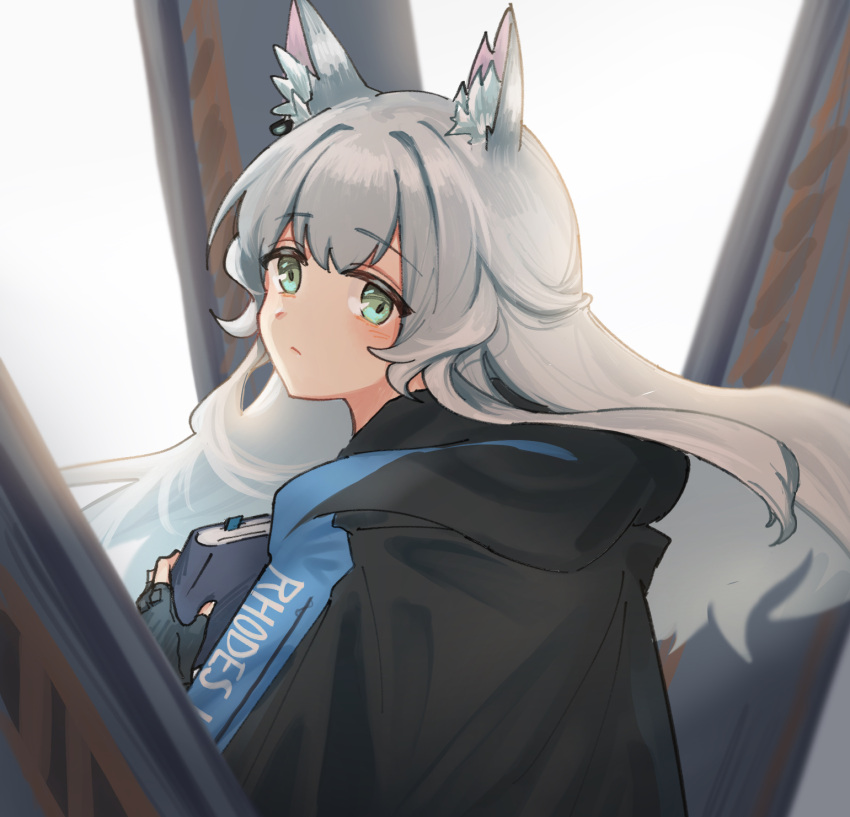 1girl animal_ear_fluff animal_ears arknights black_gloves black_jacket book cat_ears clothes_writing fingerless_gloves floating_hair gloves green_eyes grey_hair highres holding holding_book jacket long_hair looking_at_viewer looking_back mabing rosmontis_(arknights) solo upper_body white_background