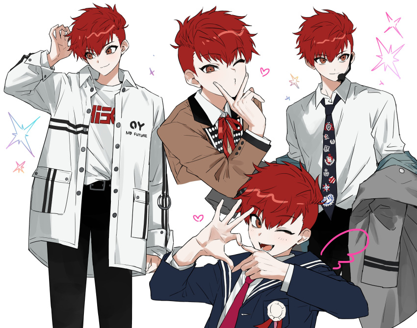 1boy absurdres bangs black_pants blue_jacket blue_sailor_collar brown_jacket buried_stars eyebrows_visible_through_hair fangs hair_between_eyes headset heart heart_hands highres jacket korean_commentary long_sleeves male_focus monza_(saeumon) multiple_views neck_ribbon necktie one_eye_closed open_mouth pants puckered_lips red_neckwear redhead ribbon sailor_collar seo_hyesung shirt simple_background smile sparkle undercut white_background white_jacket white_shirt