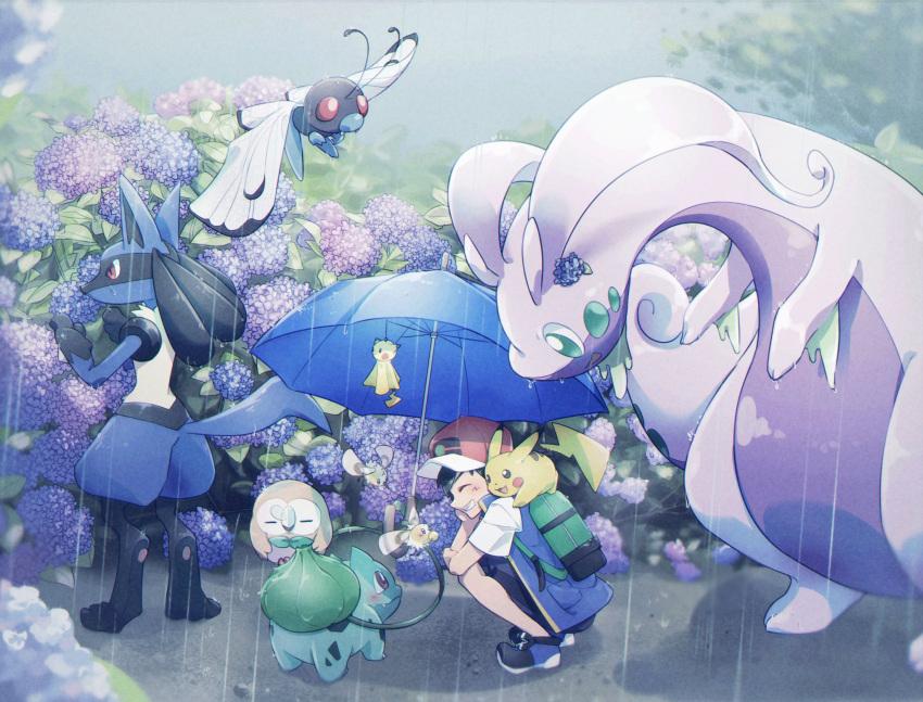 1boy alire_poke ash_ketchum backpack bag baseball_cap blue_umbrella blush bulbasaur butterfree closed_eyes commentary_request cutiefly gen_1_pokemon gen_4_pokemon gen_6_pokemon gen_7_pokemon goodra green_bag grin hat highres holding holding_umbrella lucario male_focus outdoors pikachu plant pokemon pokemon_(anime) pokemon_(creature) pokemon_swsh_(anime) rain rowlet shirt shoes short_sleeves shorts sleeveless sleeveless_jacket smile squatting starter_pokemon umbrella vines wet white_shirt