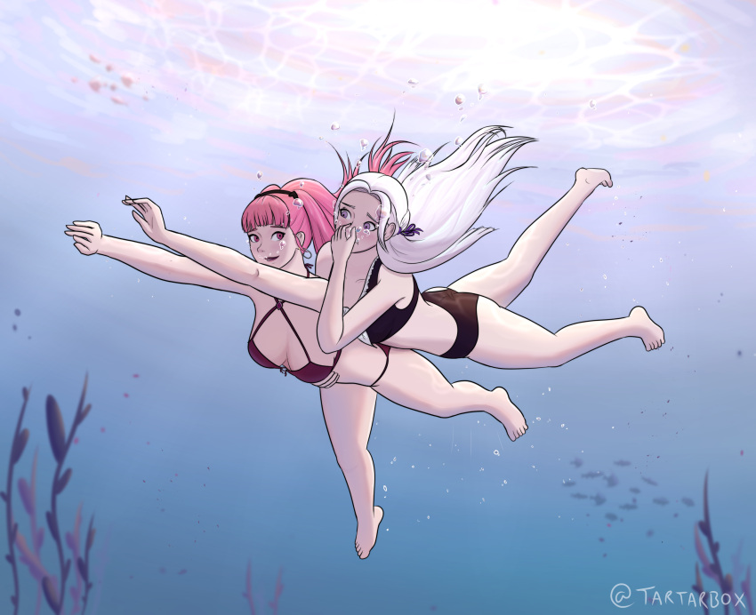 2girls animal artist_name ass bikini black_bikini breath_hold bubble closed_mouth cute edelgard_von_hresvelg fire_emblem fire_emblem:_three_houses fire_emblem:_three_houses fire_emblem_16 fish hair_ribbon hilda_valentine_goneril hug human intelligent_systems lips long_hair looking_at_another nintendo open_mouth pink_eyes pink_hair red_bikini ribbon summer swimming swimming_lessons swimsuit tartarbox teenager time_paradox timeskip twintails underwater violet_eyes white_hair young_adult yuri