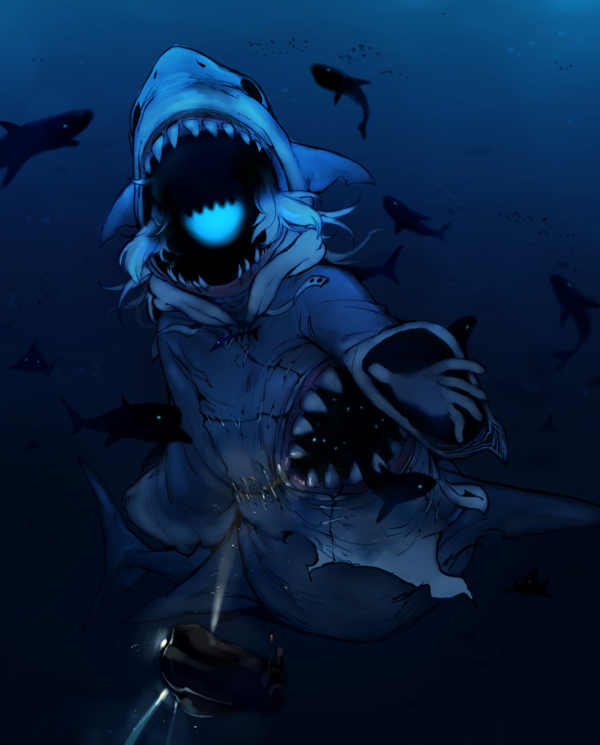 1girl absurdres animal_hood doppel_(bonnypir) fish fish_tail gawr_gura giant giantess glowing_mouth highres hololive hololive_english hood monster monsterification open_mouth sea_monster shaded_face shark shark_girl shark_hood shark_tail sharp_teeth smile solo spotlight submarine tail teeth underwater watercraft